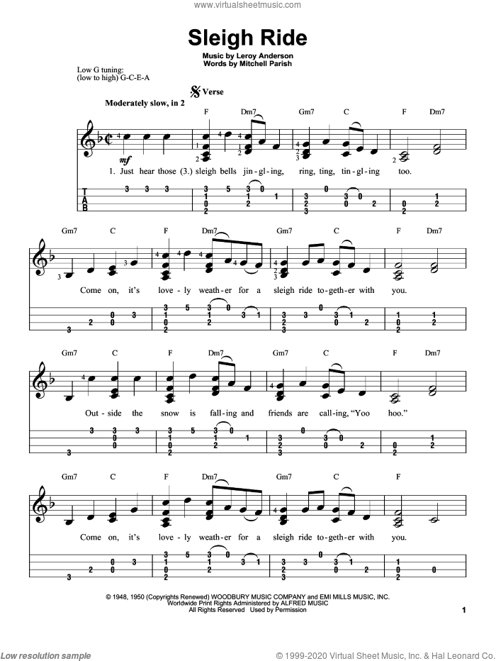 Sleigh Ride sheet music for ukulele by Mitchell Parish and Leroy Anderson. Score Image Preview.