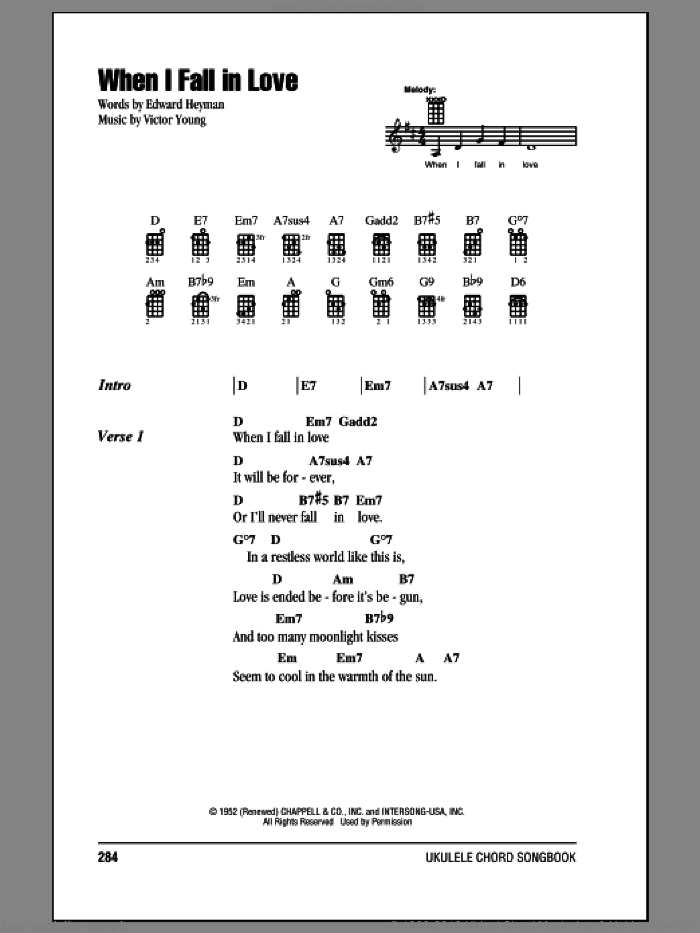 When I Fall In Love sheet music for ukulele (chords) by Carpenters and The Lettermen, intermediate skill level