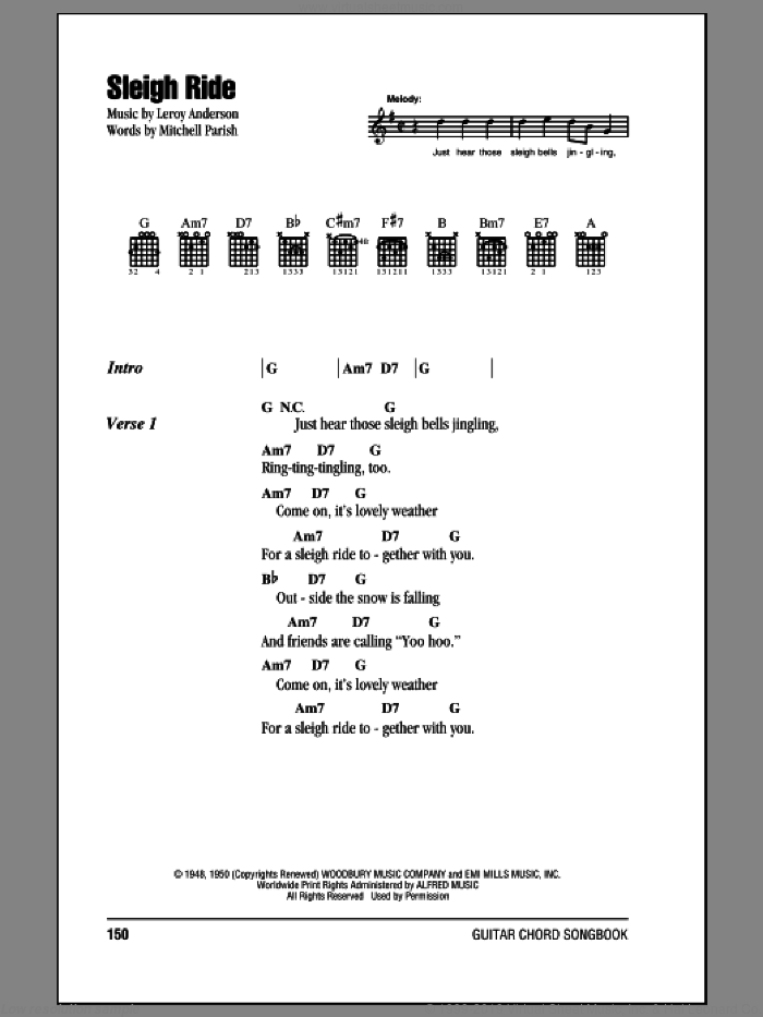 Sleigh Ride sheet music for guitar (chords) by Mitchell Parish and Leroy Anderson, intermediate skill level