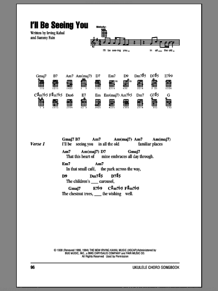 I'll Be Seeing You sheet music for ukulele (chords) by Irving Kahal and Sammy Fain, intermediate skill level