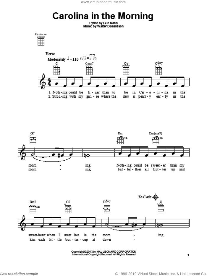 Carolina In The Morning sheet music for ukulele by Gus Kahn and Walter Donaldson, intermediate