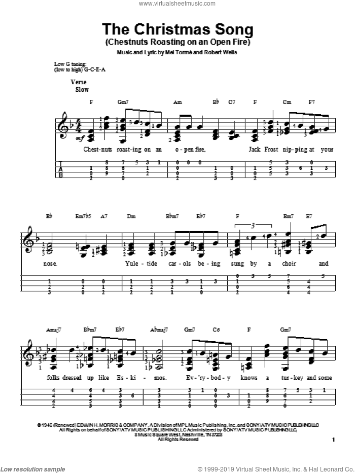 The Christmas Song (Chestnuts Roasting On An Open Fire) sheet music for ukulele by Mel Torme, Christmas carol score, intermediate ukulele. Score Image Preview.