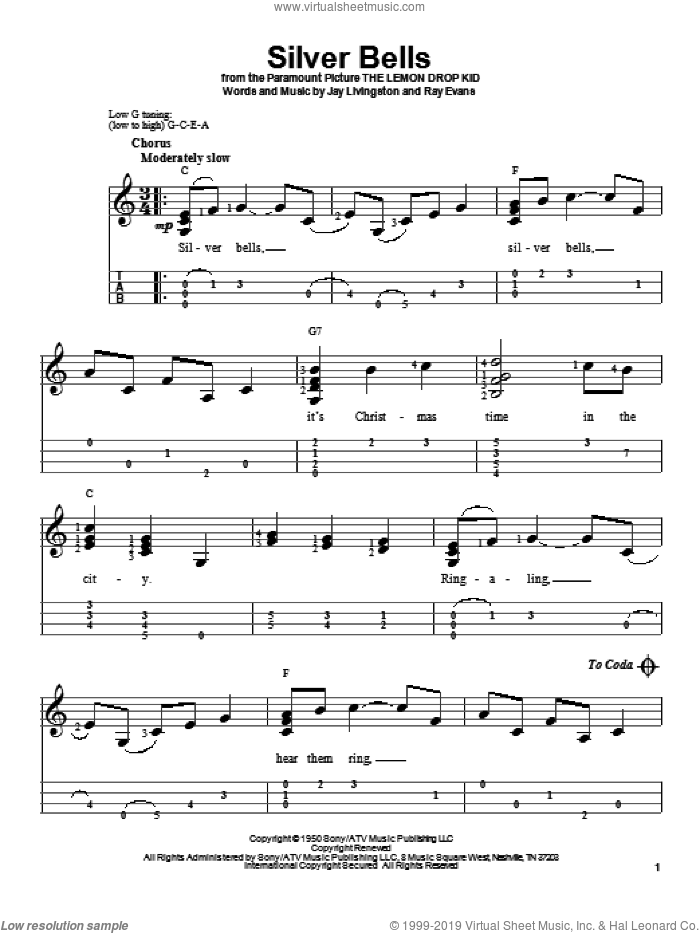 Silver Bells sheet music for ukulele by Ray Evans and Jay Livingston, intermediate skill level