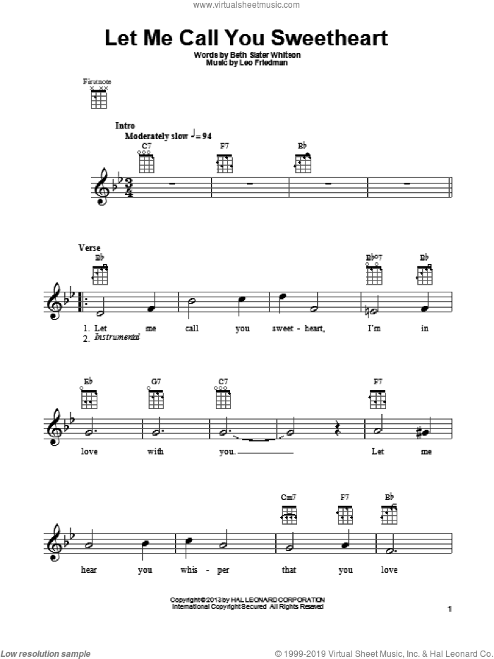 Let Me Call You Sweetheart sheet music for ukulele by Leo Friedman and Beth Slater Whitson, intermediate skill level