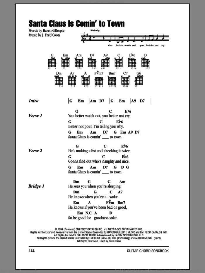 Santa Claus Is Comin' To Town sheet music for guitar (chords) by Haven Gillespie and J. Fred Coots, intermediate skill level