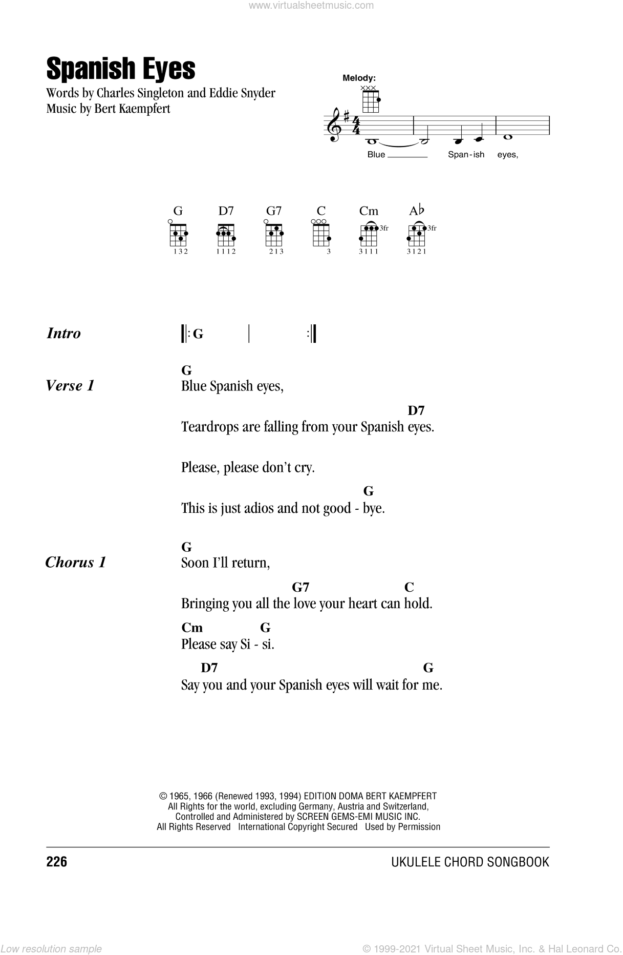 Spanish Eyes sheet music for ukulele (chords) by Elvis Presley and Al Martino, intermediate. Score Image Preview.