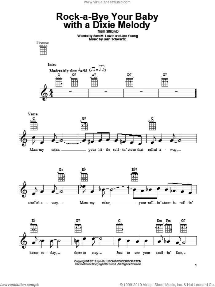 Rock-A-Bye Your Baby With A Dixie Melody sheet music for ukulele by Al Jolson, Jean Schwartz and Joe Young, intermediate skill level