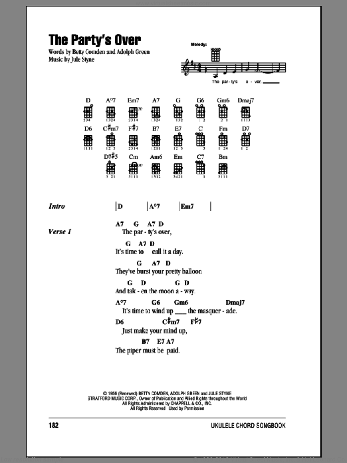 The Party's Over sheet music for ukulele (chords) by Jule Styne
