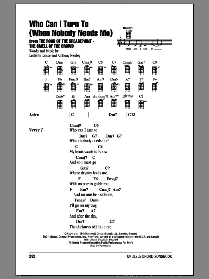 Newley - Who Can I Turn To (When Nobody Needs Me) sheet music for ukulele  (chords)