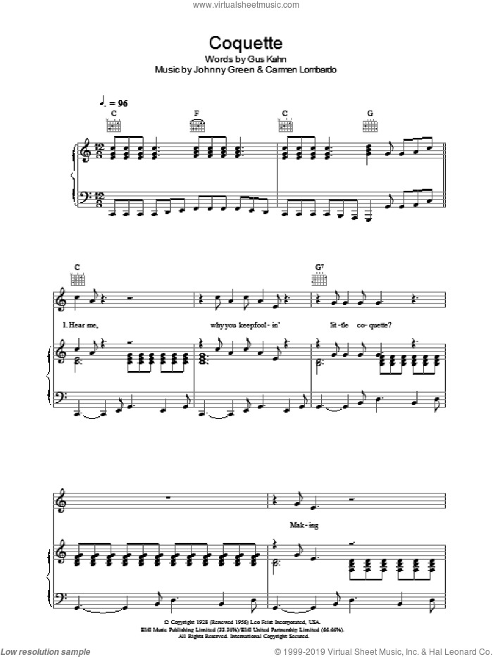 Coquette sheet music for voice, piano or guitar by Johnny Green