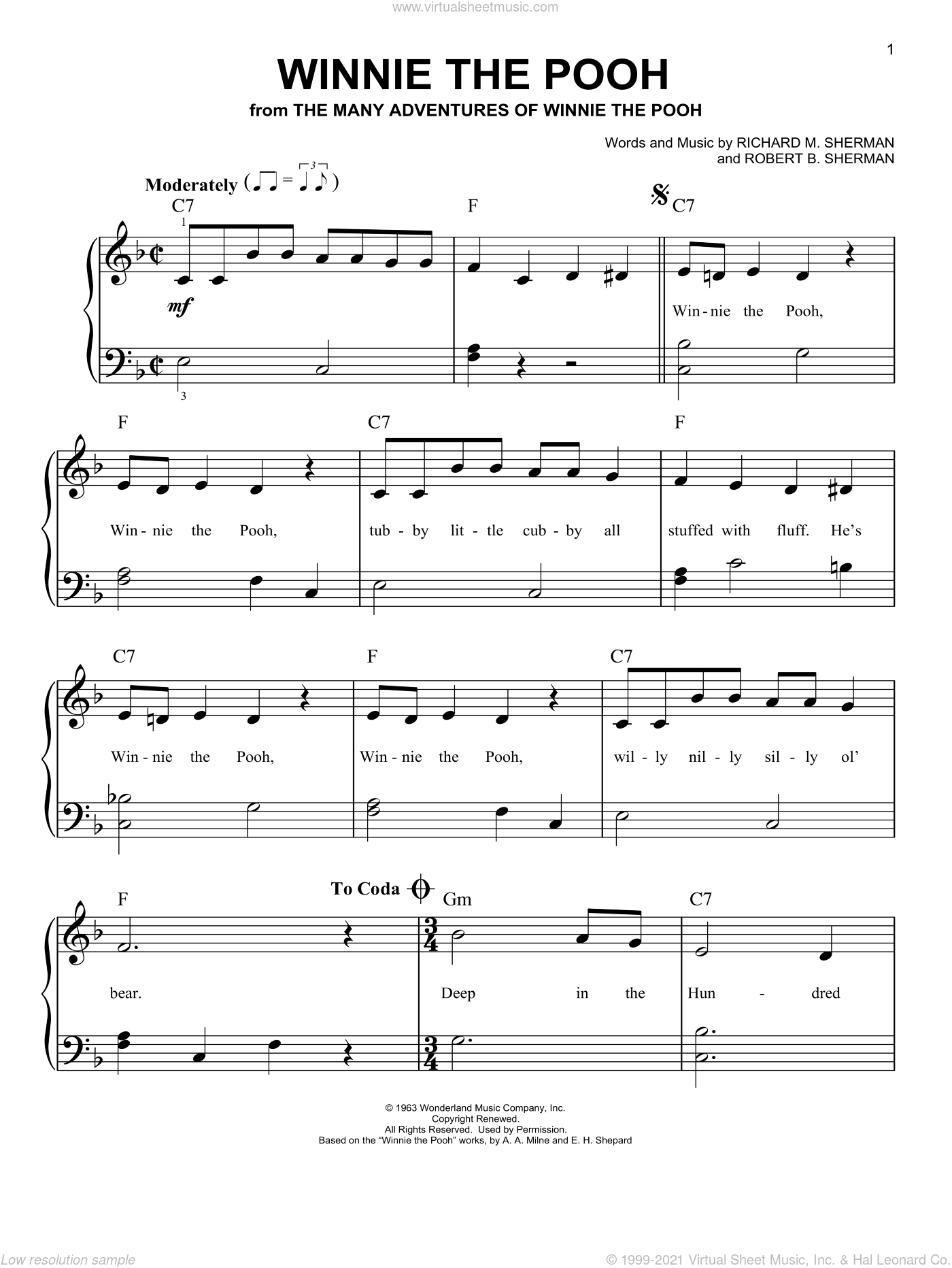 Winnie The Pooh sheet music for piano solo by Robert B. Sherman and Richard M. Sherman, easy skill level