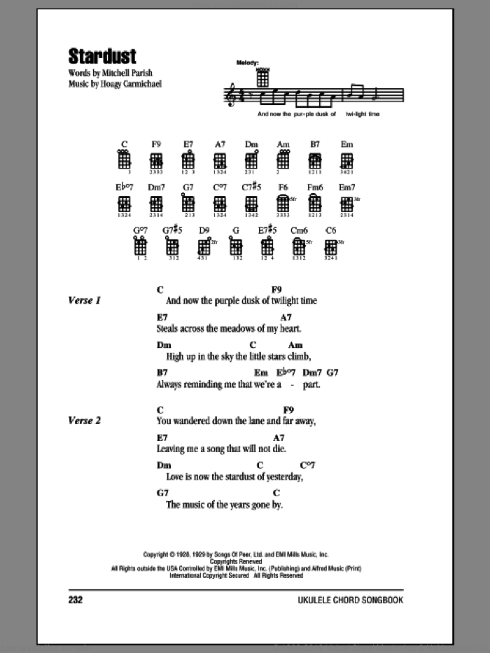 Stardust sheet music for ukulele (chords) by Hoagy Carmichael
