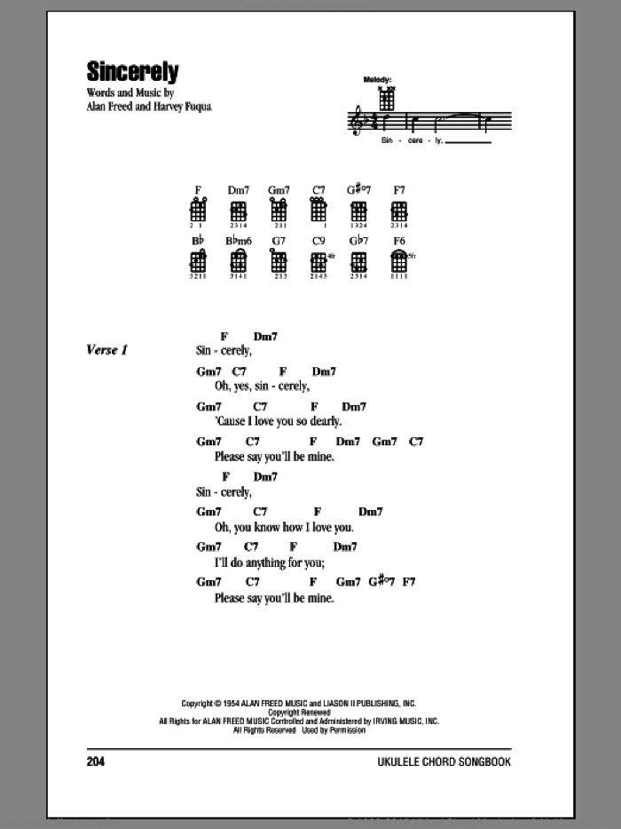 Sincerely sheet music for ukulele (chords) by Moonglows