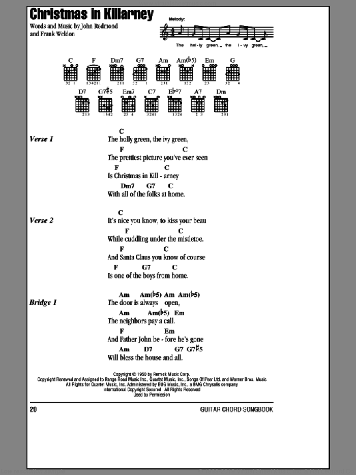 Christmas In Killarney sheet music for guitar (chords) by John Redmond and Frank Weldon. Score Image Preview.
