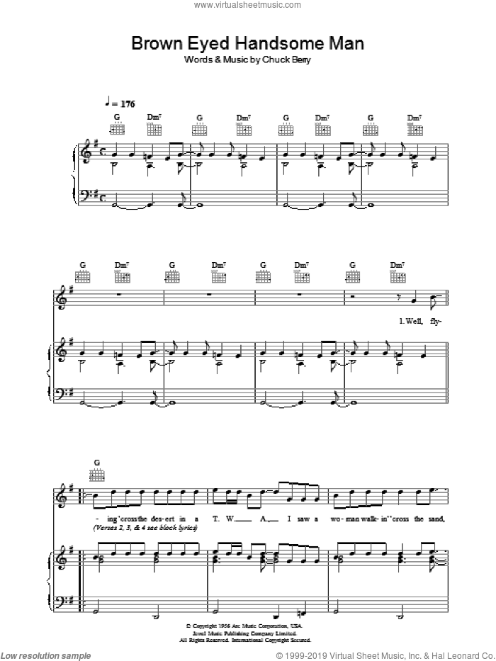 Brown Eyed Handsome Man sheet music for voice, piano or guitar by Paul McCartney and Chuck Berry, intermediate. Score Image Preview.