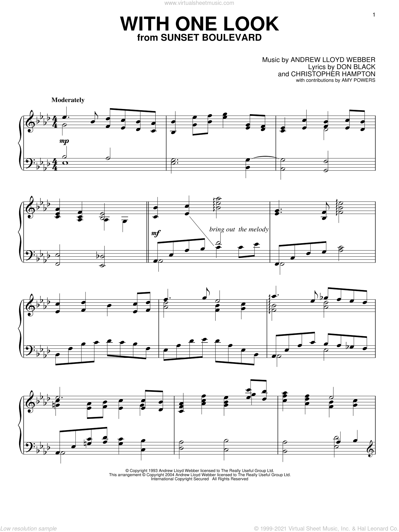With One Look sheet music for piano solo by Andrew Lloyd Webber and Don Black, intermediate. Score Image Preview.