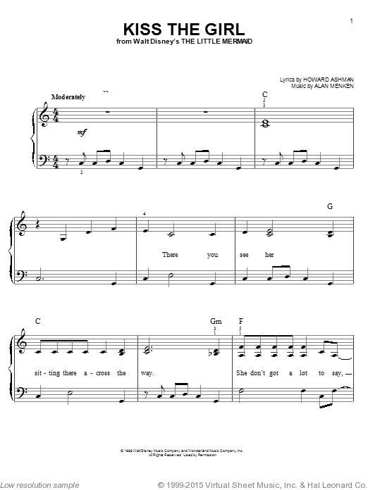 Kiss The Girl sheet music for piano solo (chords) by Alan Menken
