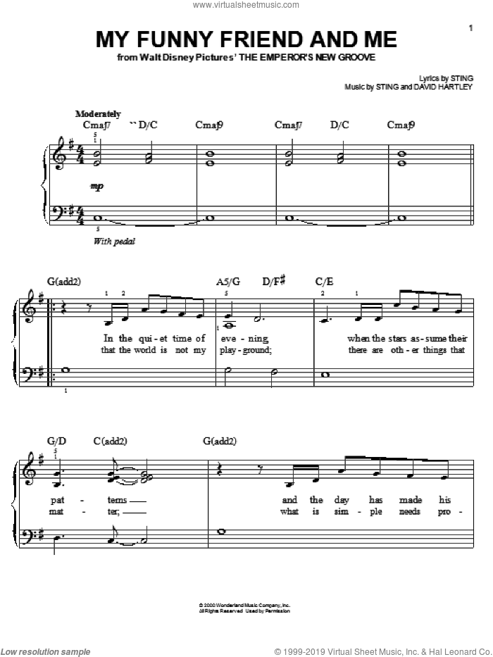 My Funny Friend And Me sheet music for piano solo by Sting, easy skill level