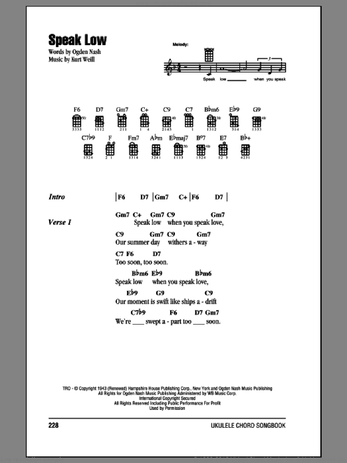 Speak Low sheet music for ukulele (chords) by Kurt Weill and Ogden Nash. Score Image Preview.