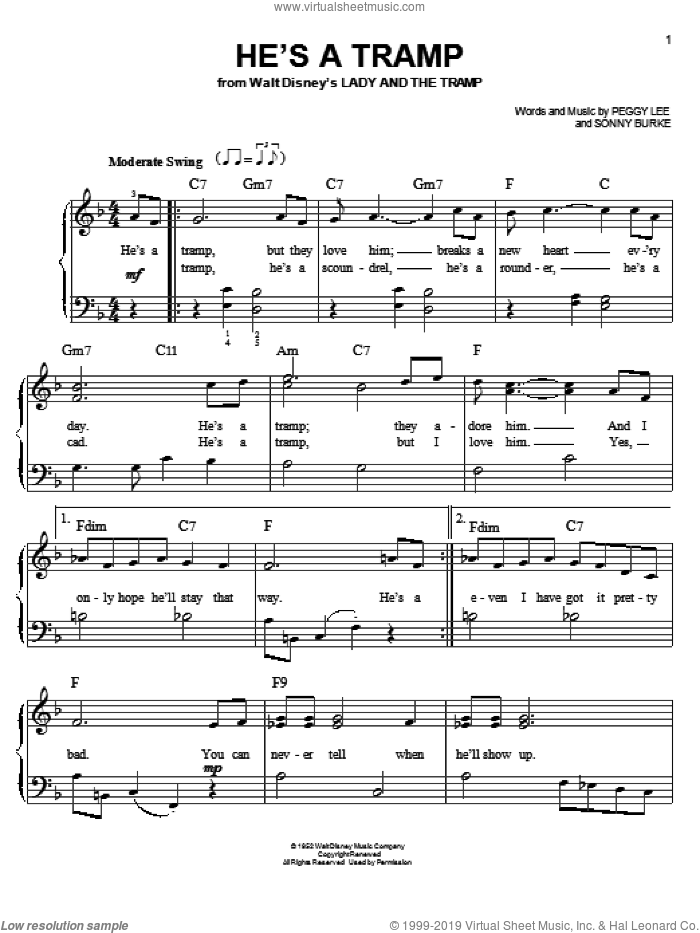 He's A Tramp (from Lady And The Tramp) sheet music for piano solo by Peggy Lee and Sonny Burke, easy skill level