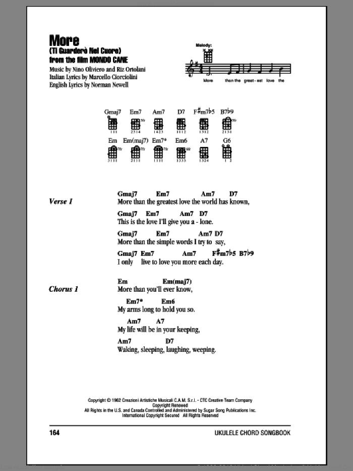 Ortolani - More (Ti Guardero Nel Cuore) sheet music for ukulele (chords)