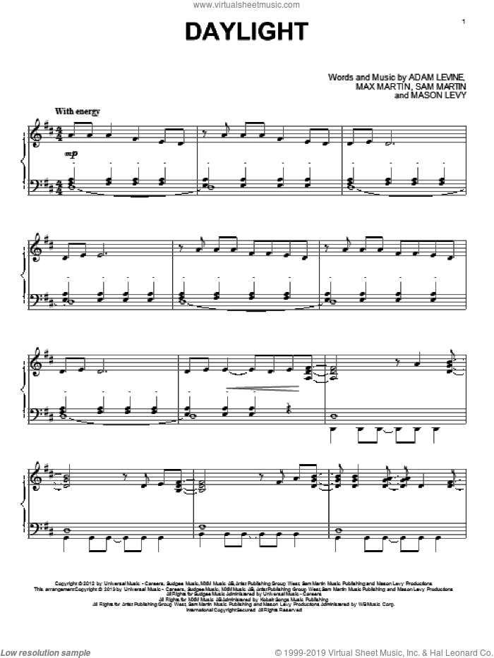 Daylight sheet music for piano solo by Maroon 5, intermediate skill level