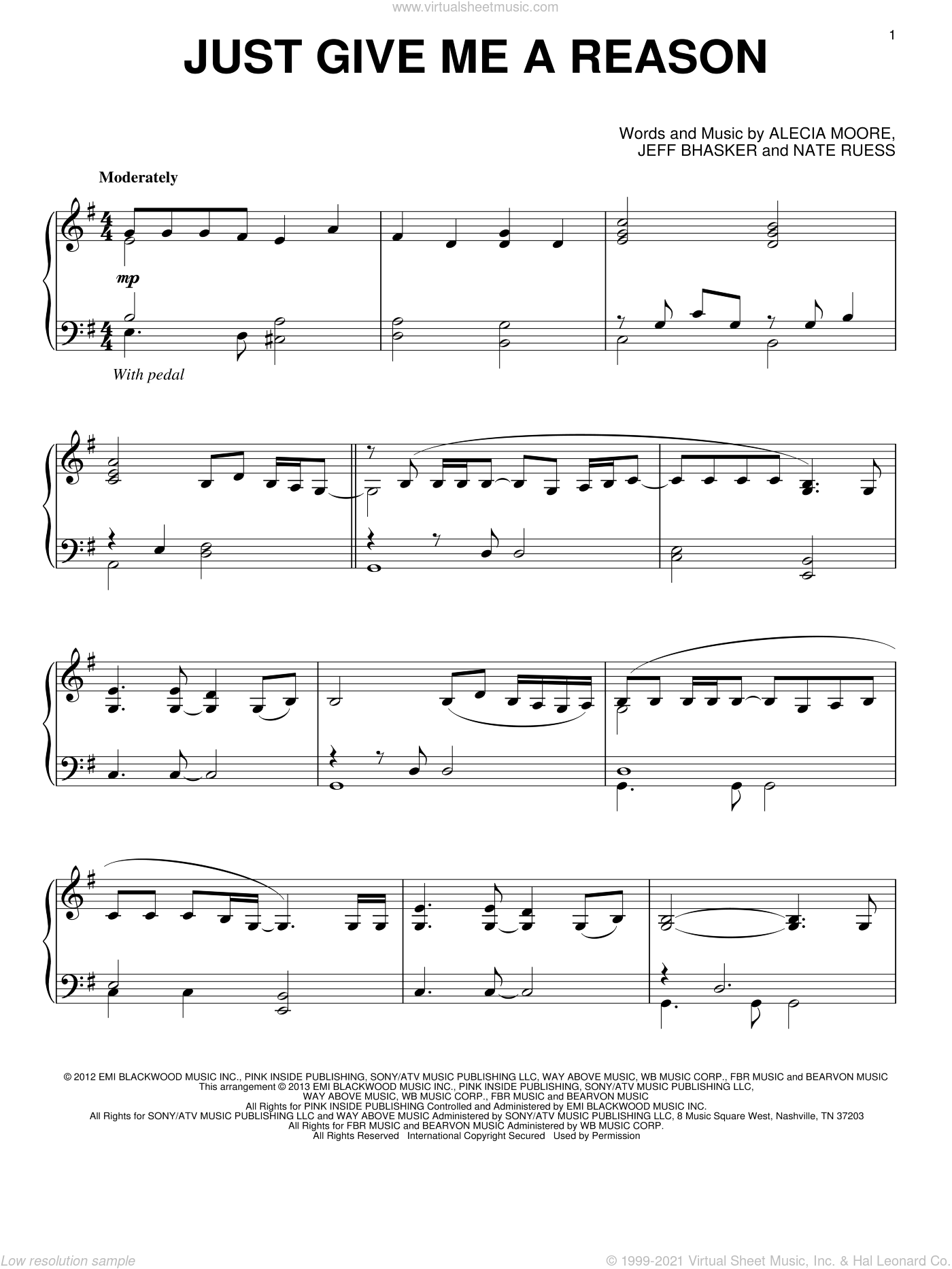 Just Give Me A Reason sheet music for piano solo by Pink featuring Nate Ruess, intermediate piano. Score Image Preview.