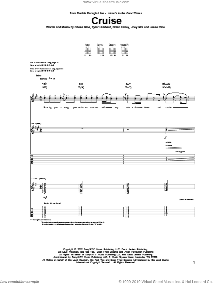 Cruise sheet music for guitar (tablature) by Florida Georgia Line