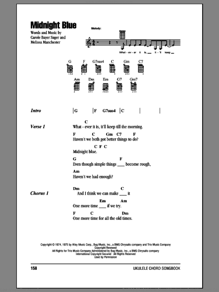 Manchester - Midnight Blue sheet music for ukulele (chords) [PDF]