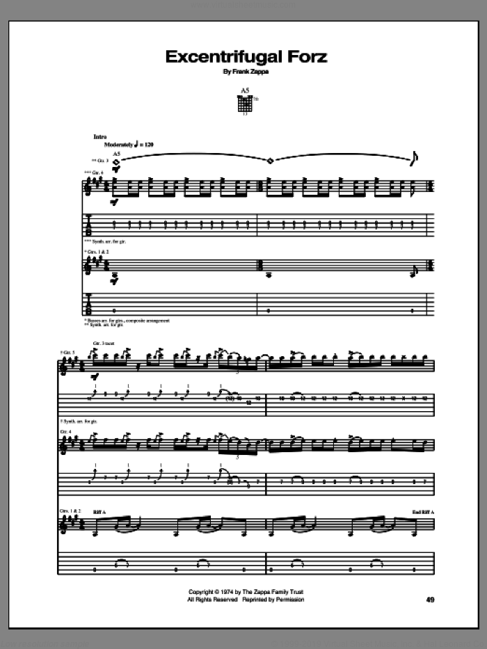 Excentrifugal Forz sheet music for guitar (tablature) by Frank Zappa