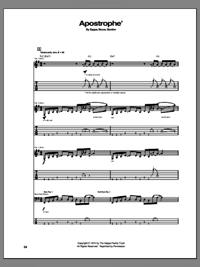 Apostrophe' sheet music for guitar (tablature) by Frank Zappa