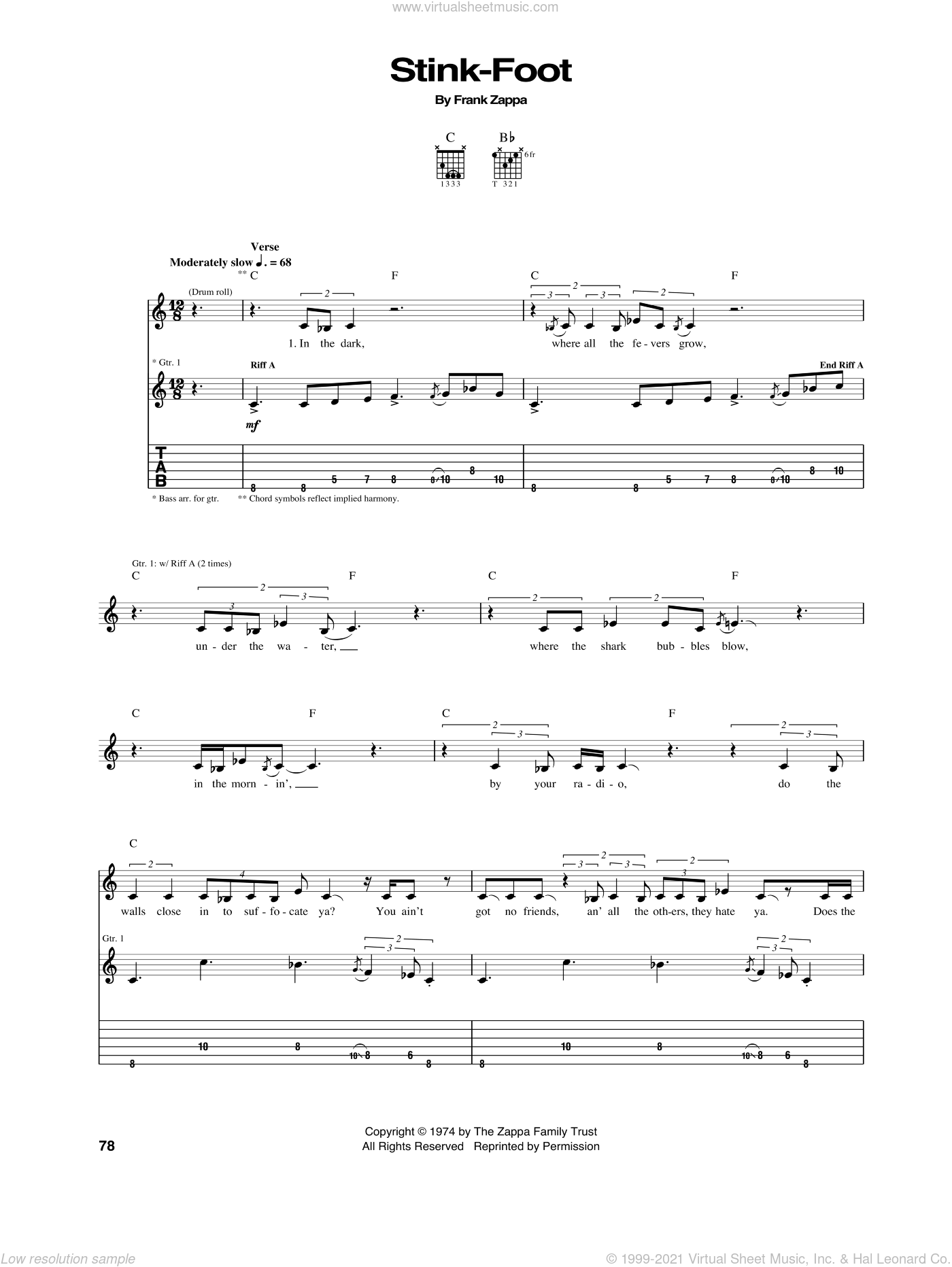 Stink-Foot sheet music for guitar (tablature) by Frank Zappa, intermediate