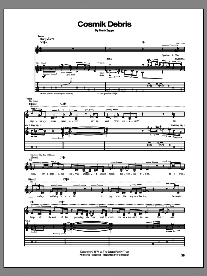 Cosmik Debris sheet music for guitar (tablature) by Frank Zappa