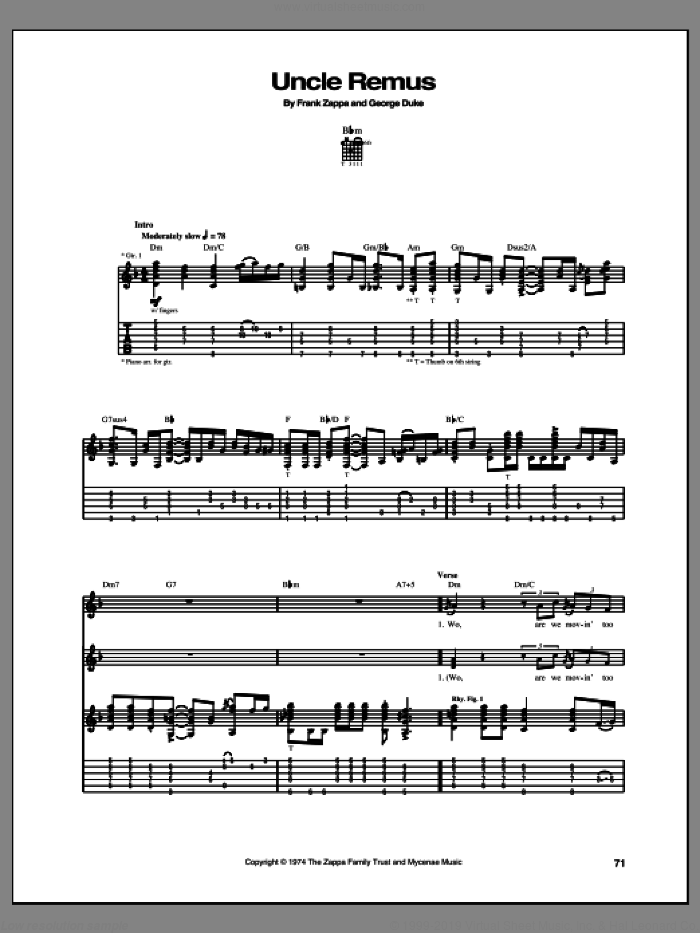Uncle Remus sheet music for guitar (tablature) by Frank Zappa, intermediate