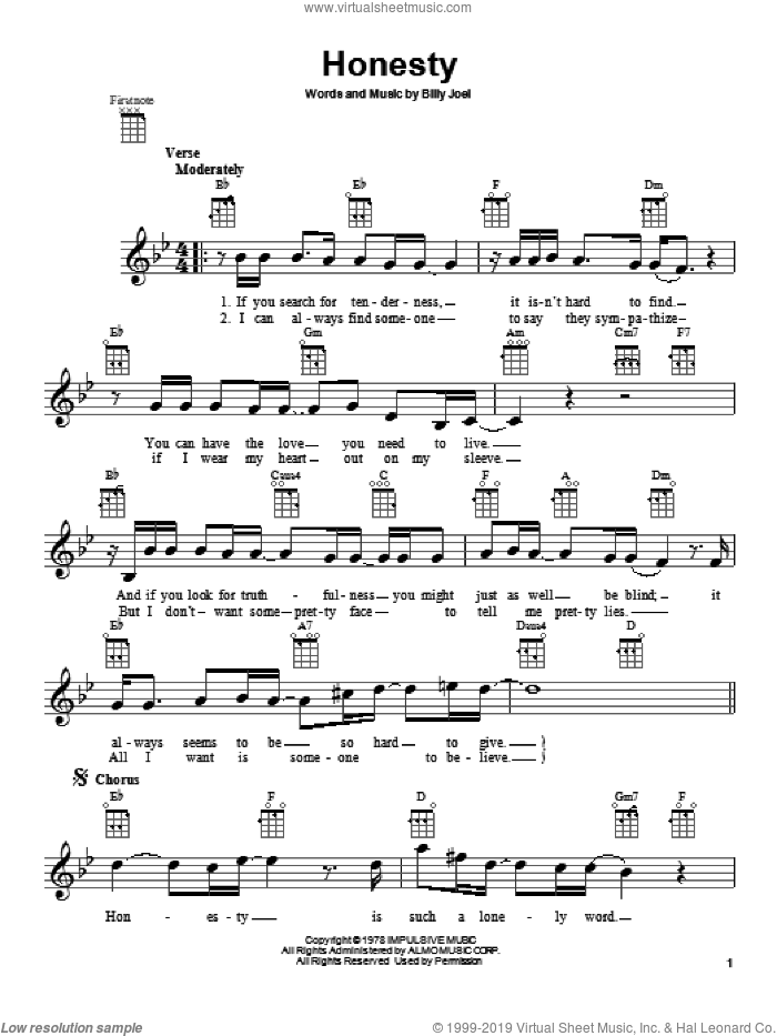 Honesty sheet music for ukulele by Billy Joel, intermediate skill level