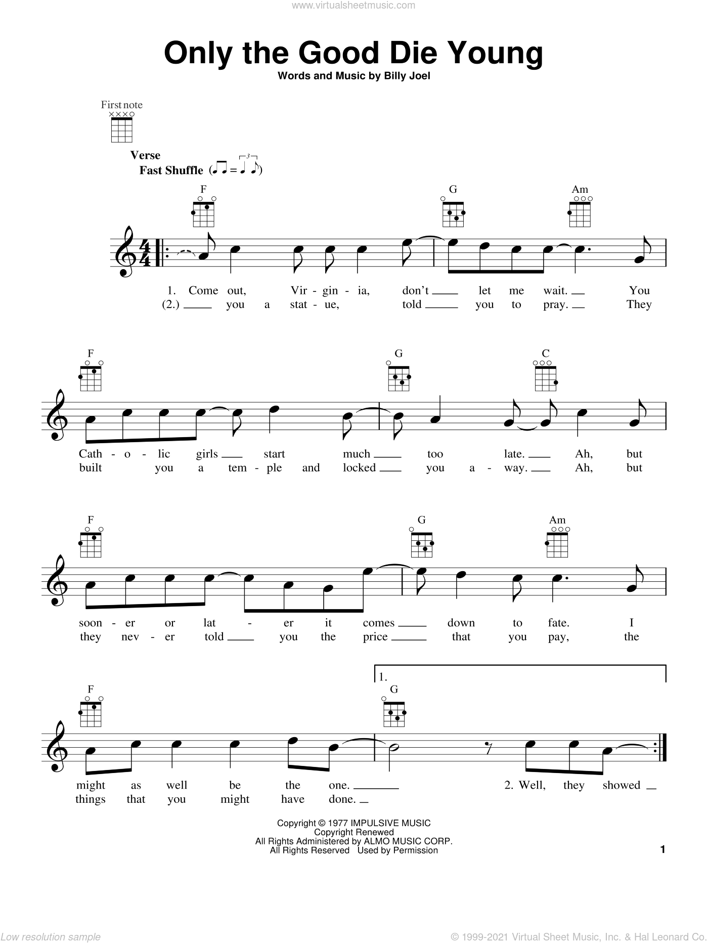 Only The Good Die Young sheet music for ukulele by Billy Joel, intermediate ukulele. Score Image Preview.