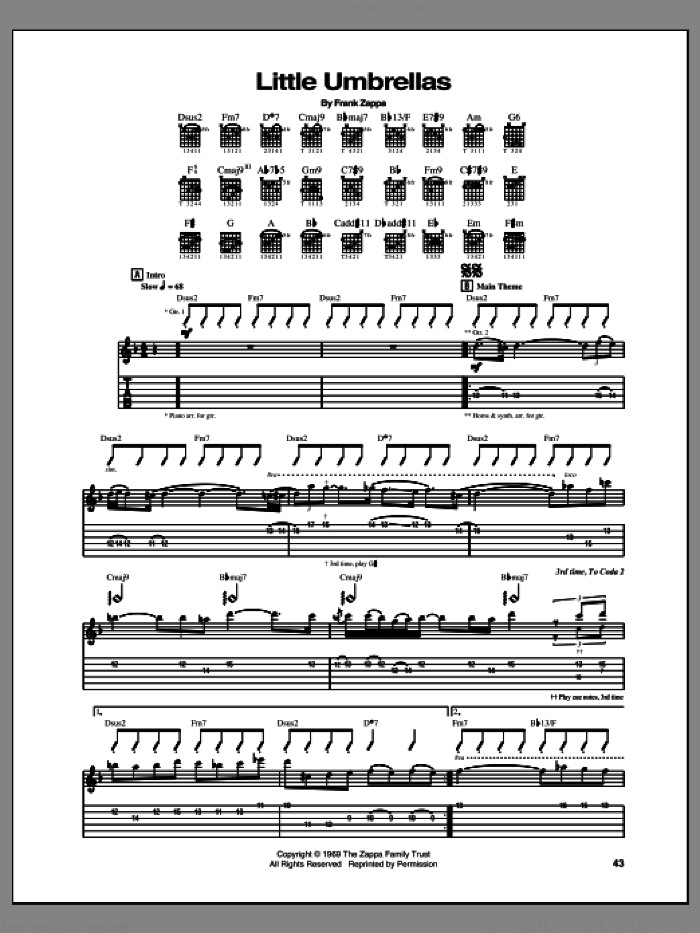 Little Umbrellas sheet music for guitar (tablature) by Frank Zappa, intermediate guitar (tablature). Score Image Preview.