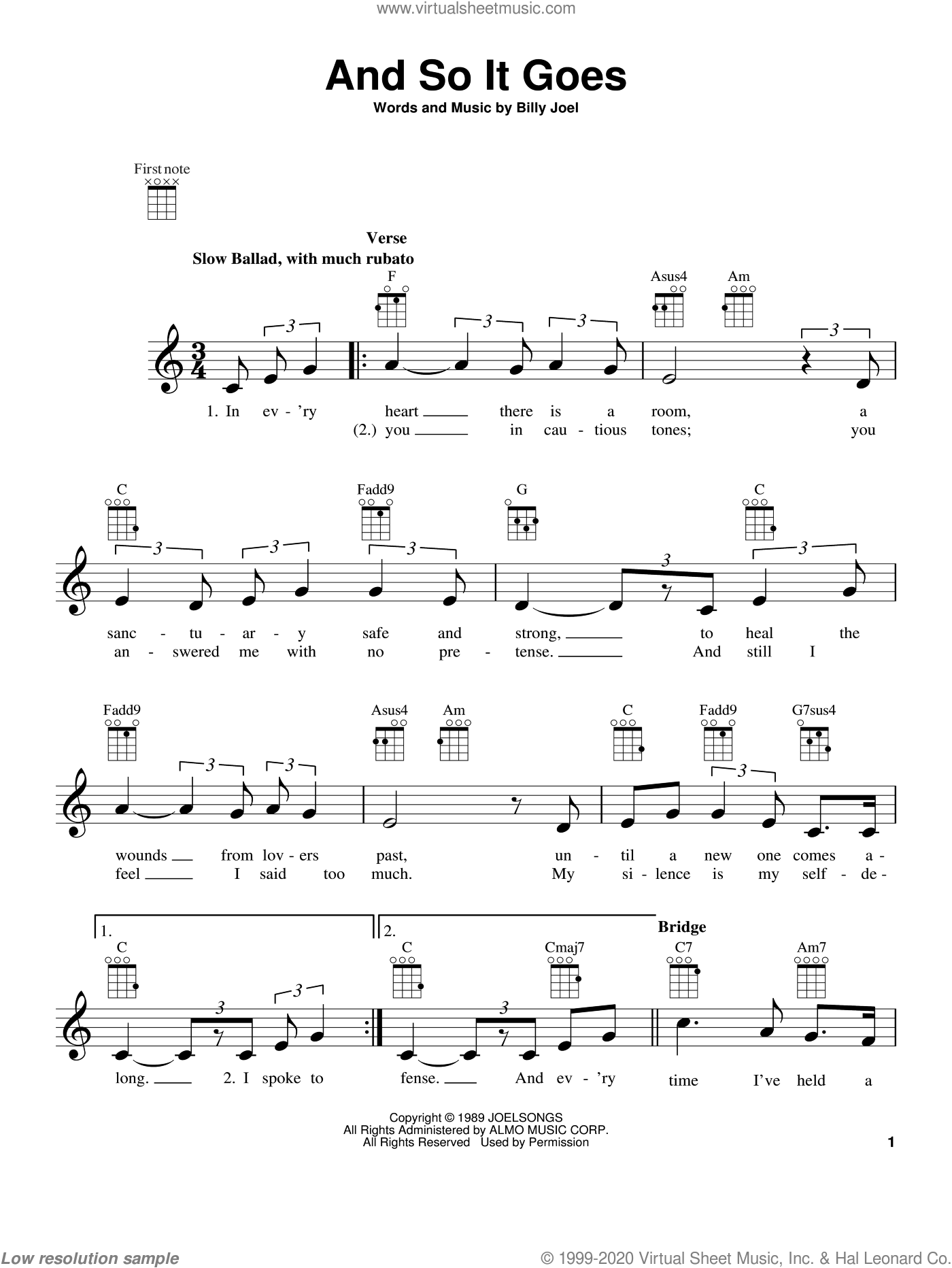 And So It Goes sheet music for ukulele by Billy Joel, intermediate skill level