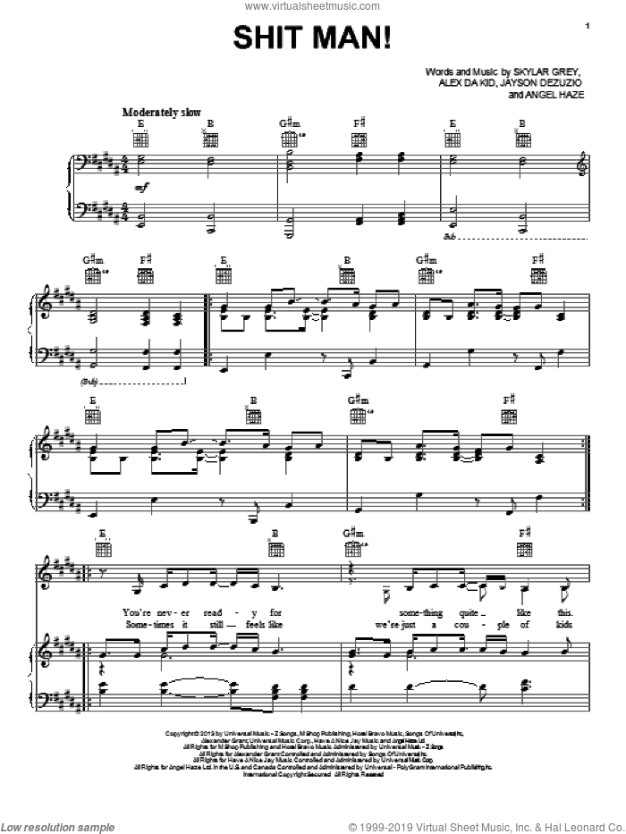 Shit Man! sheet music for voice, piano or guitar by Skylar Grey. Score Image Preview.