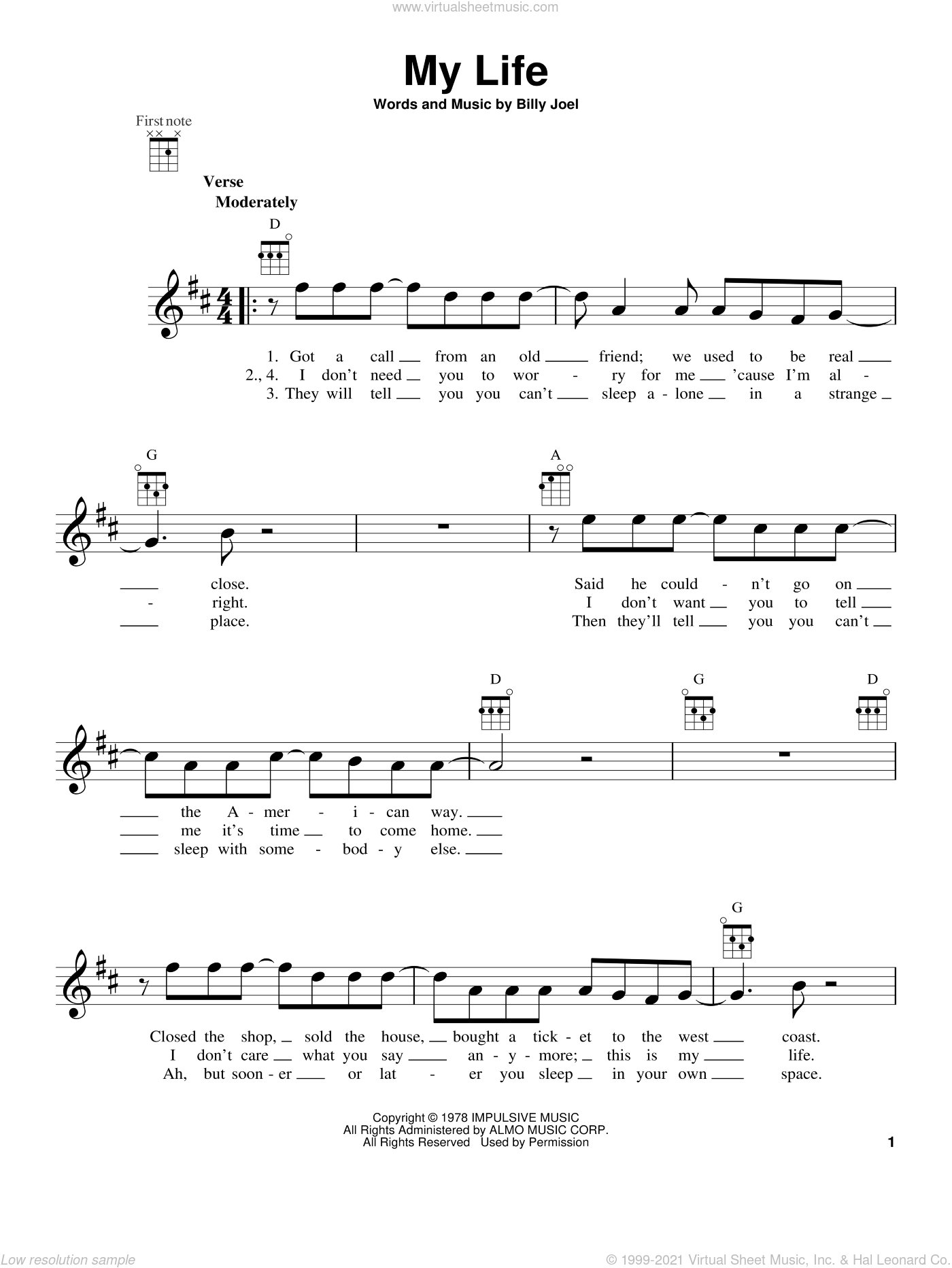 My Life sheet music for ukulele by Billy Joel, intermediate ukulele. Score Image Preview.