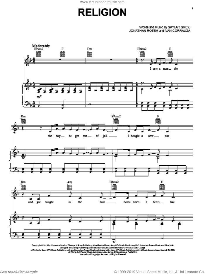 Religion sheet music for voice, piano or guitar by Skylar Grey. Score Image Preview.