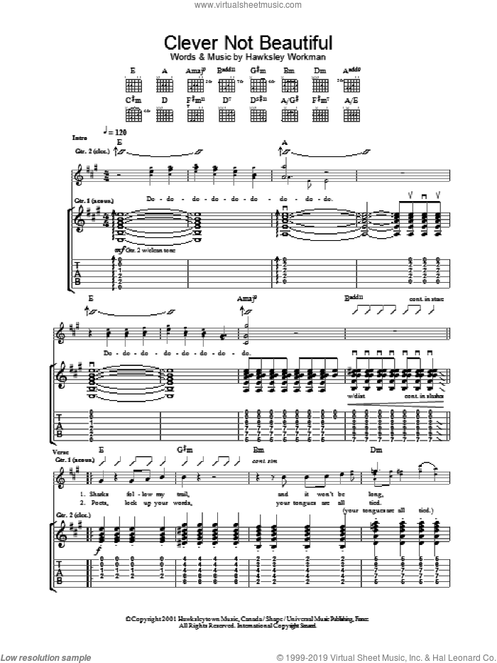 Clever Not Beautiful sheet music for guitar (tablature) by Hawksley Workman