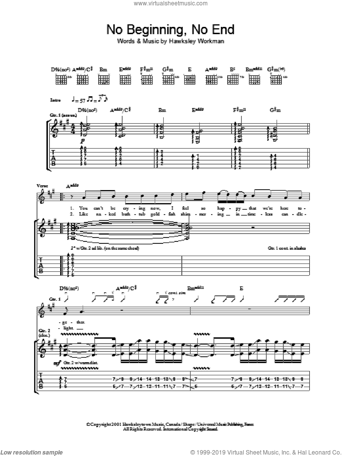 No Beginning No End sheet music for guitar (tablature) by Hawksley Workman. Score Image Preview.