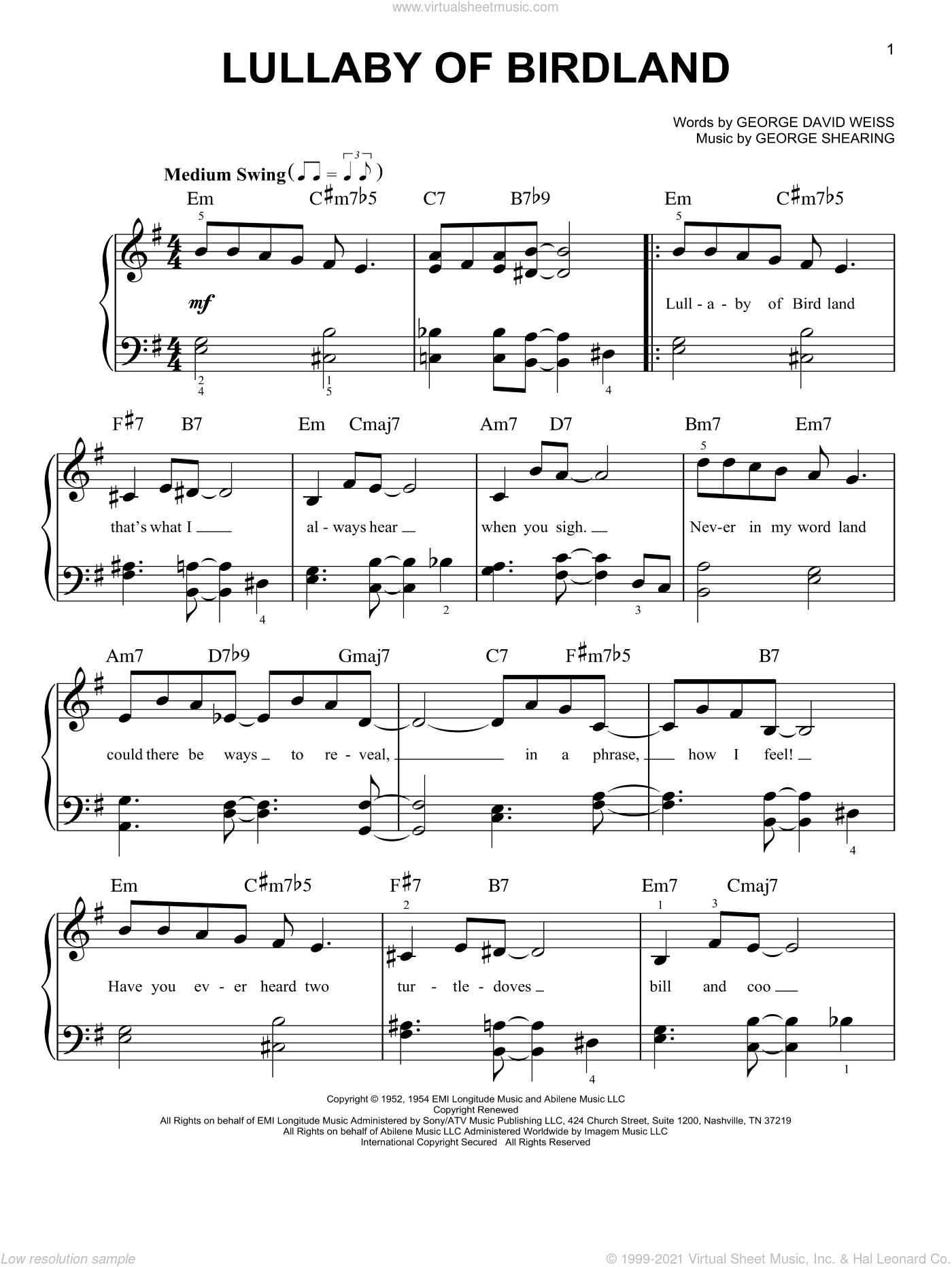 Lullaby Of Birdland, (easy) sheet music for piano solo by George Shearing and George David Weiss, easy skill level