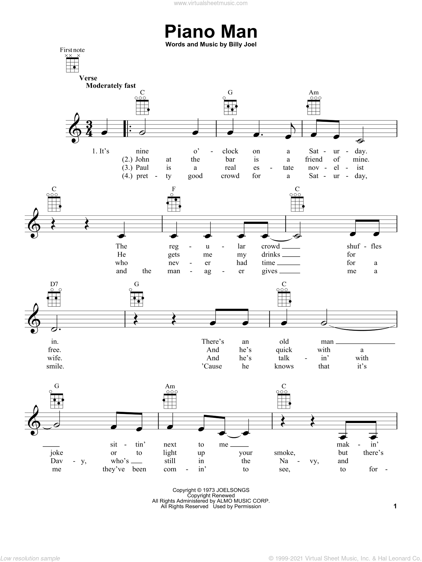 Piano Man sheet music for ukulele by Billy Joel, intermediate skill level