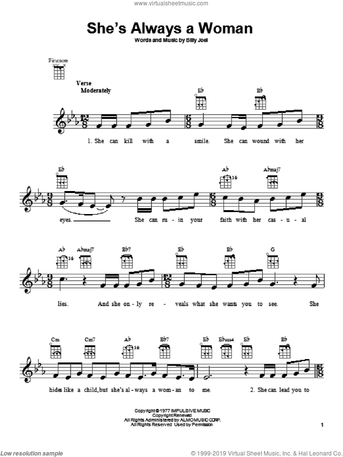 She's Always A Woman sheet music for ukulele by Billy Joel, intermediate skill level