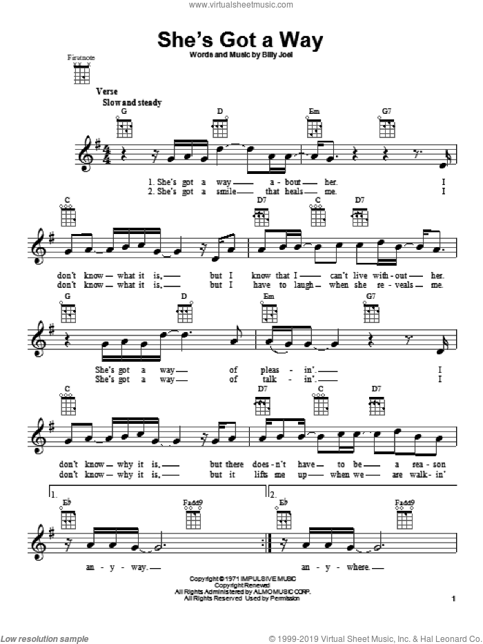 She's Got A Way sheet music for ukulele by Billy Joel. Score Image Preview.