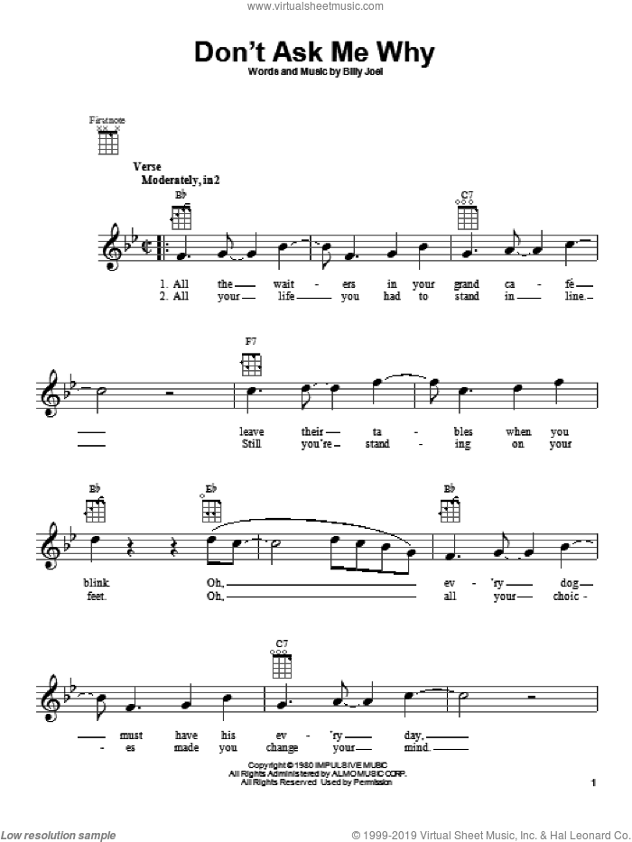 Don't Ask Me Why sheet music for ukulele by Billy Joel. Score Image Preview.