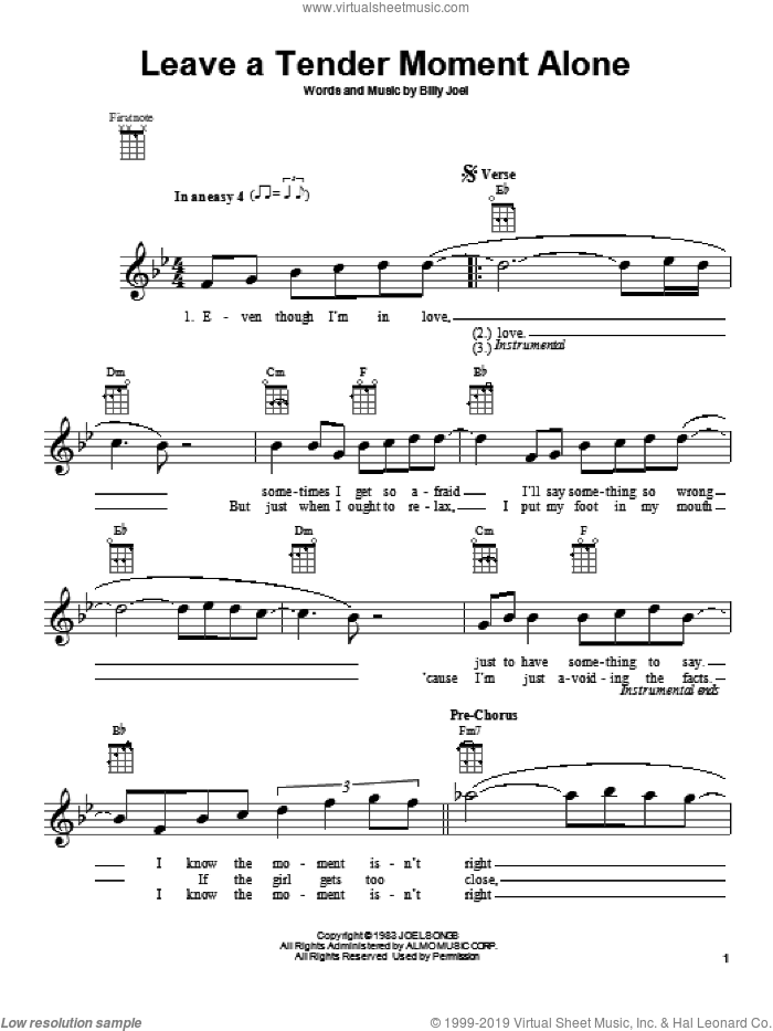 Leave A Tender Moment Alone sheet music for ukulele by Billy Joel, intermediate ukulele. Score Image Preview.