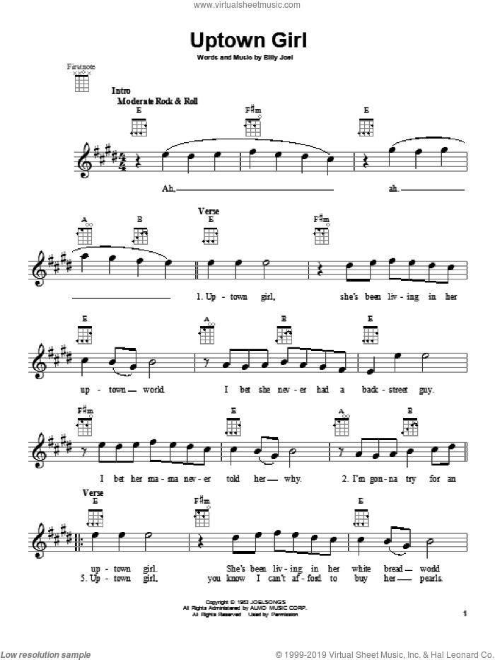 Uptown Girl sheet music for ukulele by Billy Joel, intermediate. Score Image Preview.